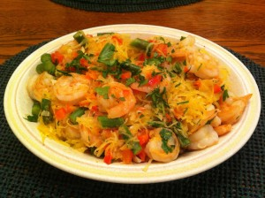 Shrimp Scampi over Spaghetti Squash