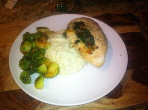 Pancetta Stuffed Chicken Breast, Garlic Smashed Cauliflower and Sautéed Brussels Sprouts