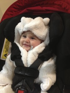 Mikaella was nice and warm in her bear outfit her God Parents gave her!