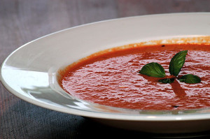 Spicy Tomato Basil Soup with Bacon