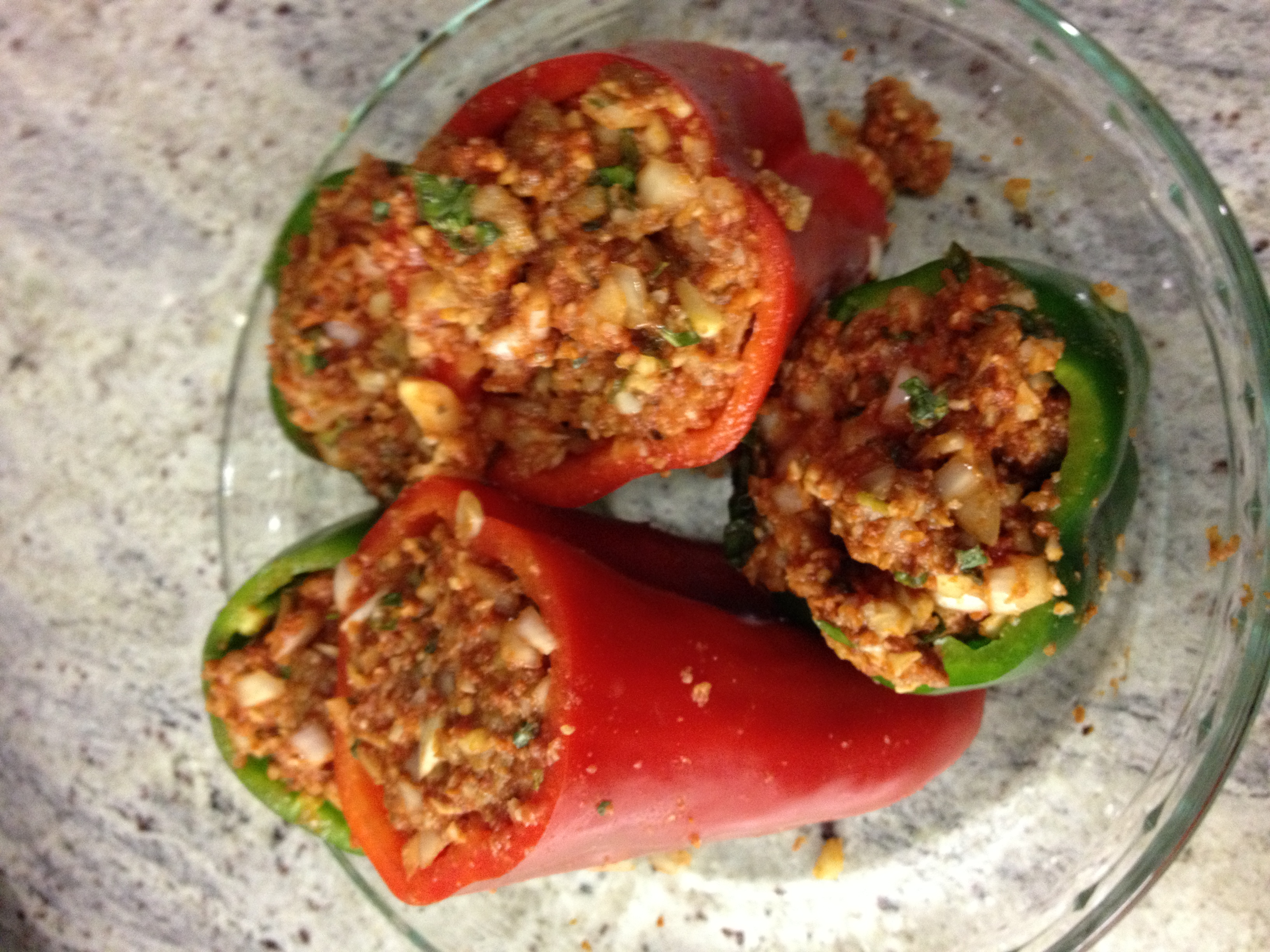 Paleo Stuffed Peppers served on glass plate